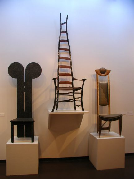 Wendy Maruyama, Mickey Mackintosh Chair, 1988; Jon Brooke, Untitled ladderback chair, 1996; Rosanne Somerson, Tall Back Chair, 1990 at the Fuller Craft Museum