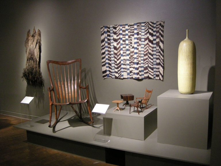 Sam Maloof, Rocking Chair and Set of scale models; James Bassler, Rebozo; Raul Coronel, Covered Vessel