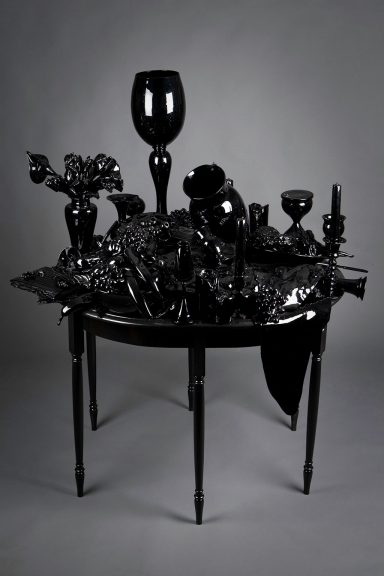 Beth Lipman, Candlesticks, Books, Flowers and Fruit, 2010. Courtesy of Heller Gallery