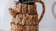 Yuyen Chang, Teabag Teapot, 2002. Dried used teabags, tags, staples, Collection of Gloria and Sonny Kamm