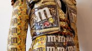 Charlotte Kruk, El M&Matador, 2006. Pieced M&M candy wrappers, cotton, and plastic embellished with sequins, beads, glass, porcelain, copper, and leather