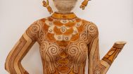 Jan Hopkins, Oh Eleanor (from the Women Icon Torso series), 2012. Hand-stitched grapefruit peel, cantaloupe peel, gingko leaves, ostrich shell beads, cedar bark, waxed linen, Permanent Collection: Sonny and Gloria Kamm, Kamm Teapot Foundation
