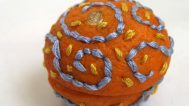 Catherine McEver, Embroidering the Scent of Winter Tangerines, 2013. Tangerine peels with embroidery floss