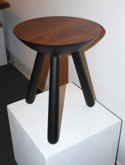 Scott McGlasson, Milking Stool, 2008. Walnut & black lacquered ash, lathe-turned and joined