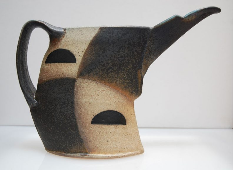 Jeff Oestriech, Beaked Pitcher, 2012. Stoneware, thrown and altered, soda fired