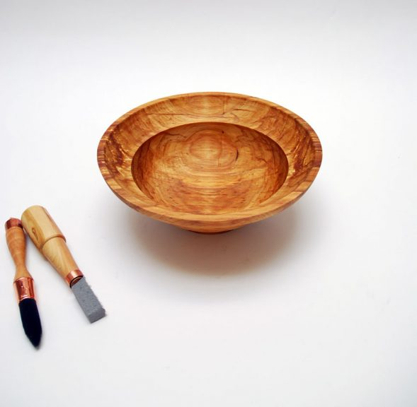 Tim Heil, Bowl with Glazing Brush and Potters Tool, Madison Metro photograph