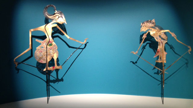 Shadow puppets representing characters from Hindu tale of the Ramayana, from Indonesia Parchment, horn and paint