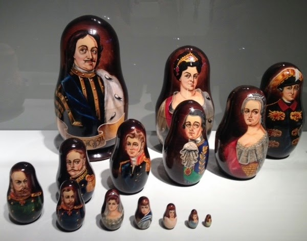 Russian Matroyshka Nesting Dolls The Romanov Dynasty (1613-1917), partial sequence ending with the immediate family of Nicholas III
