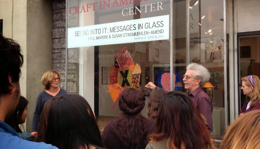 Fairfax Arts Magnet students visit the Craft in America Center to learn more about Paul Marioni & Susan Stinsmuehlen-Amend's glass work.