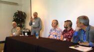 "The ""Masculine Mystique"" panel (from left to right): Gerhardt Knodel, Jim Bassler, Michael Rohde, Ben Cuevas, Joe Cunningham"