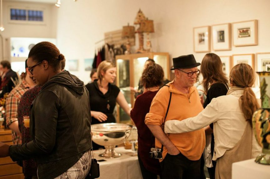 Guests enjoying cocktails next door at Freehand Gallery
