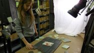 Our lovely assistant Maggie Hasspacher arranges tiles
