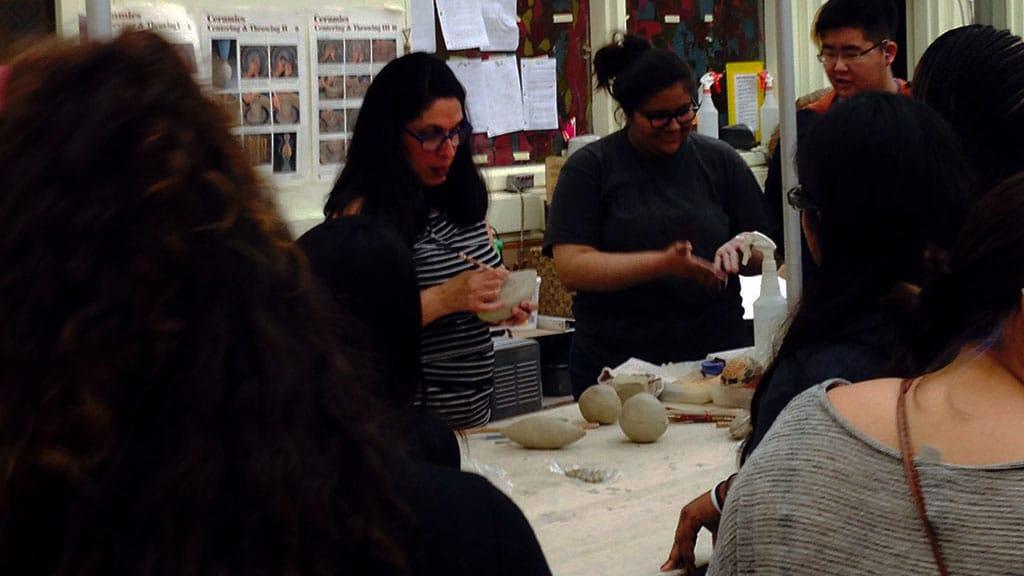 MARY OLIGNY WITH FAIRFAX STUDENTS