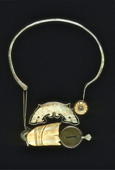 Ron Ho, Looking Forward, Glancing Back, 2003. Jade, ivory bead, ivory etsuke, optometrist implement with forged fabricated silver