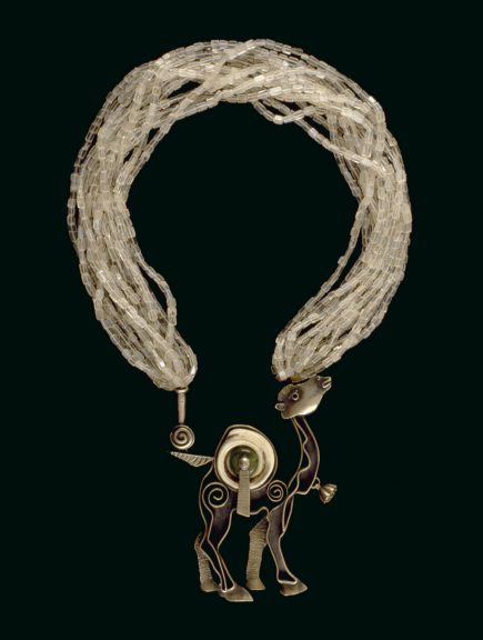 Ron Ho, Return to Rajasthan, 2005. In memory of Ramona Solberg. Fabricated silver with carved carmelian, silver and fabricated beads