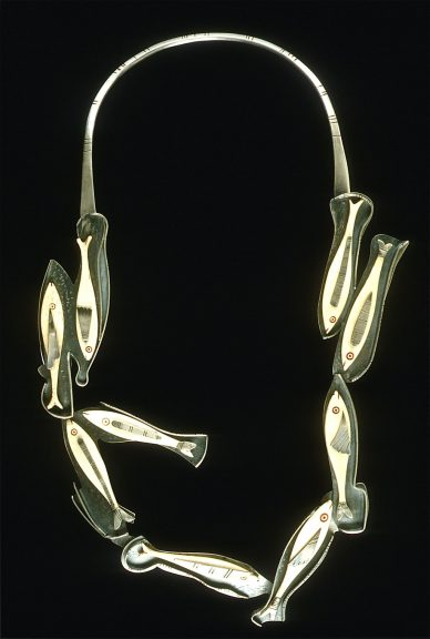 Ron Ho, School Daze, 2003. Bonefish gambling counters with forged and fabricated silver
