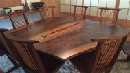 """Book-matched"" table in the Reception House, one of fourteen buildings built by Nakashima"