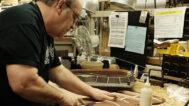 Dale Eckhart shapes the bracing. Mark Markley photograph