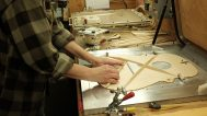 Anette Pemberton works on the X bracing. Mark Markley photograph