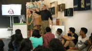 Hidde Van Duym speaking to the students of Fairfax Magnet Center for Visual Arts