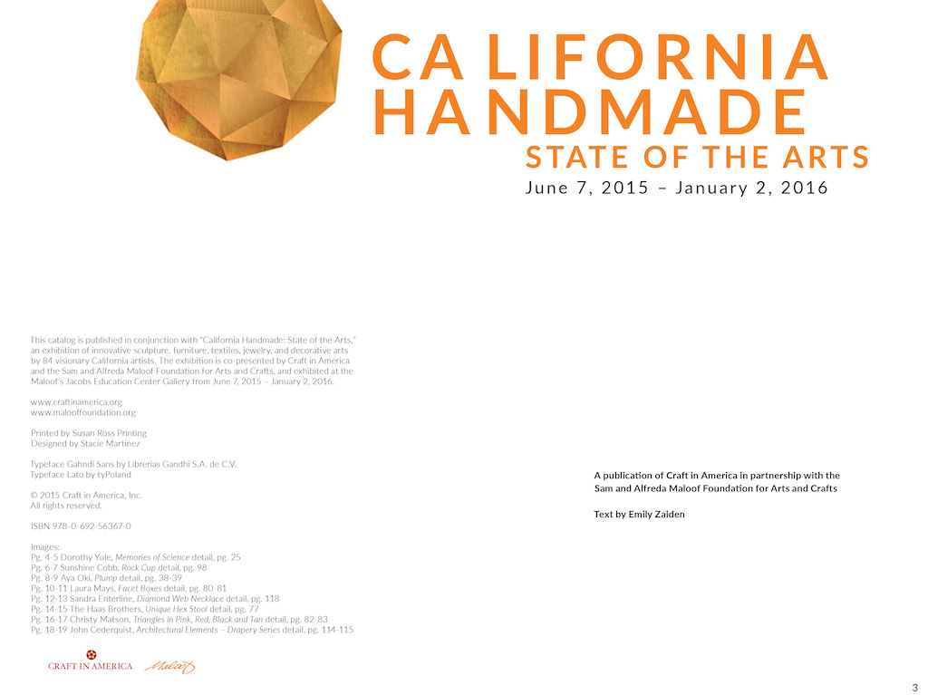 California Handmade: State of the Arts, 2015 – title page