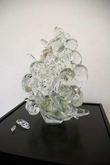 Beth Lipman, Centerpiece with Bananas, Pears, and Grapes, 2011