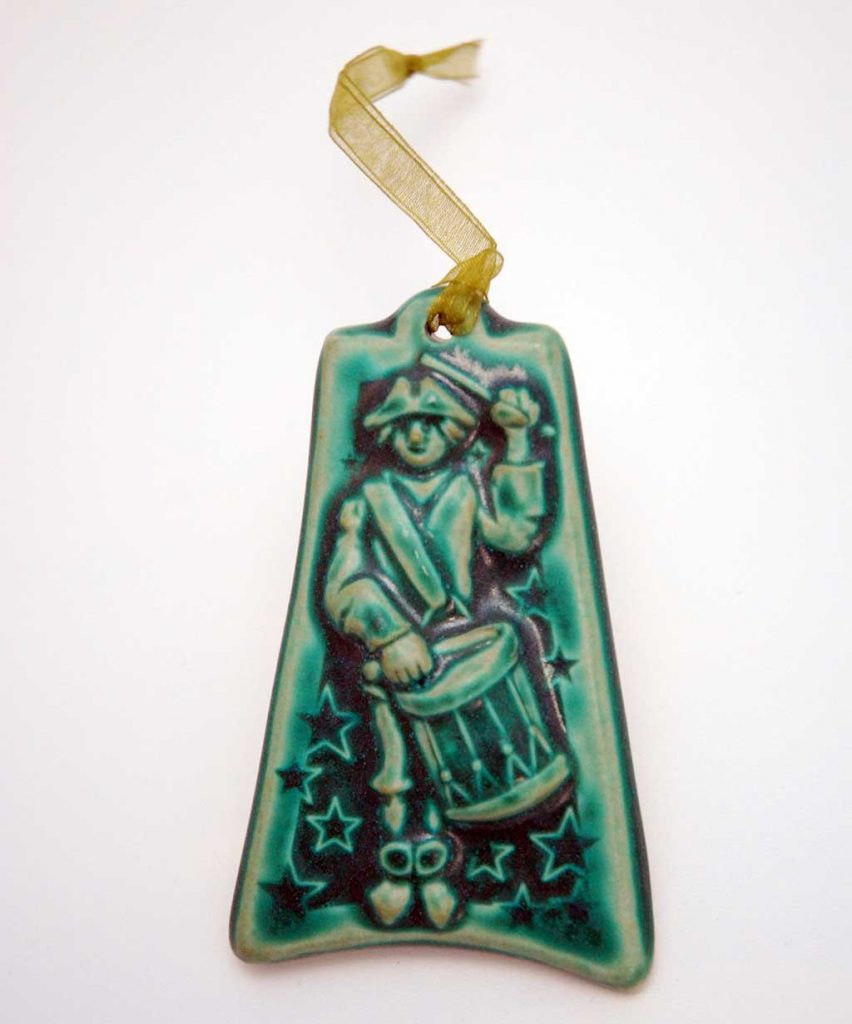 Pewabic, 12 Days of Christmas ornament (12 Drummers Drumming)