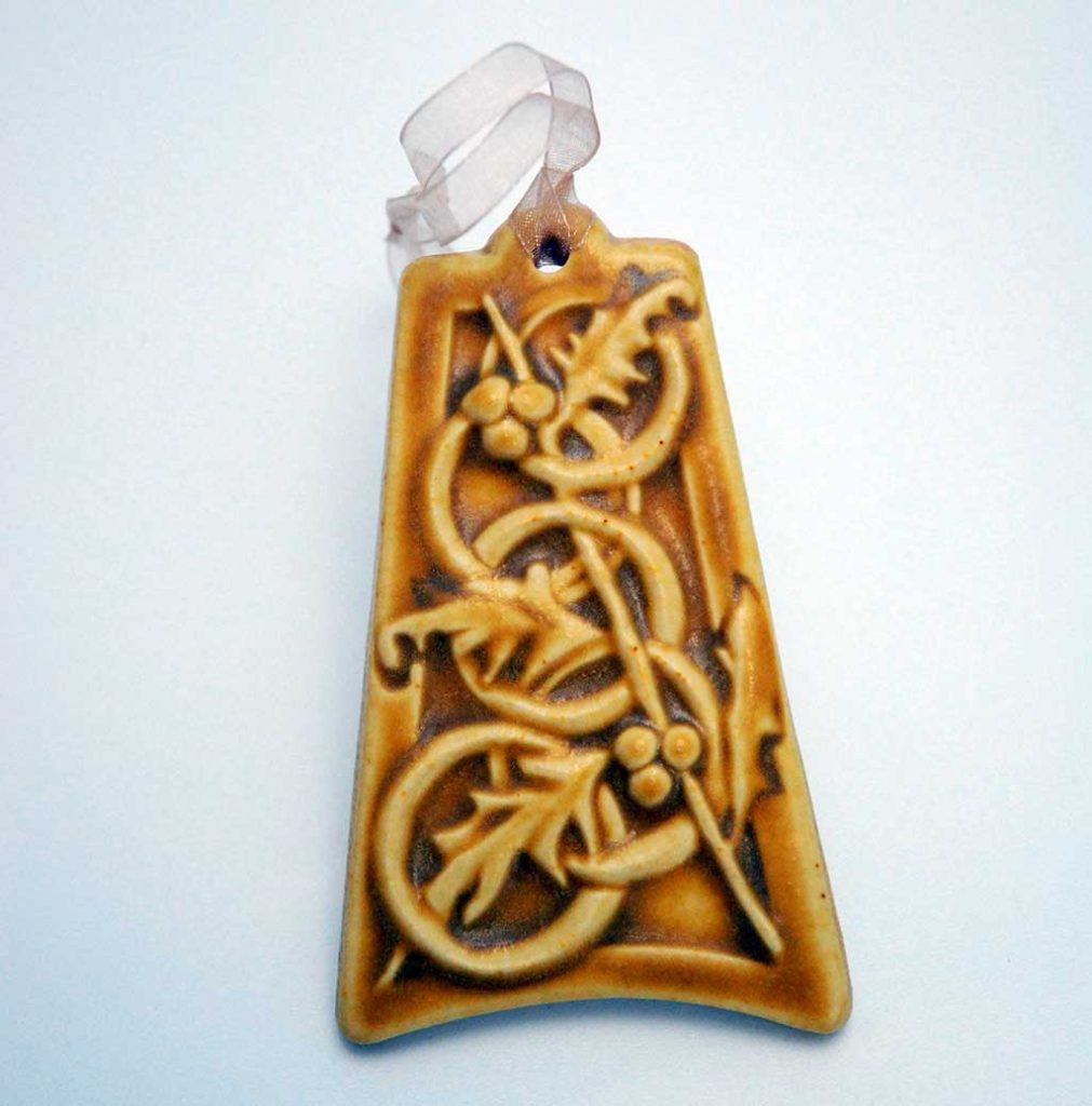 Pewabic, 12 Days of Christmas ornament (5 Gold Rings)