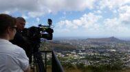 Filming Diamond Head and the Honolulu skyline