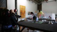 Filming Statom working in his studio