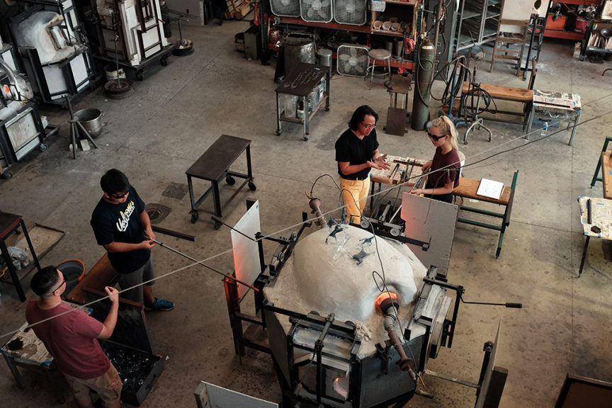 Punahou glassblowing studio. Mark Markley photograph