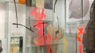 Inside Therman's glass house at Kaneko gallery