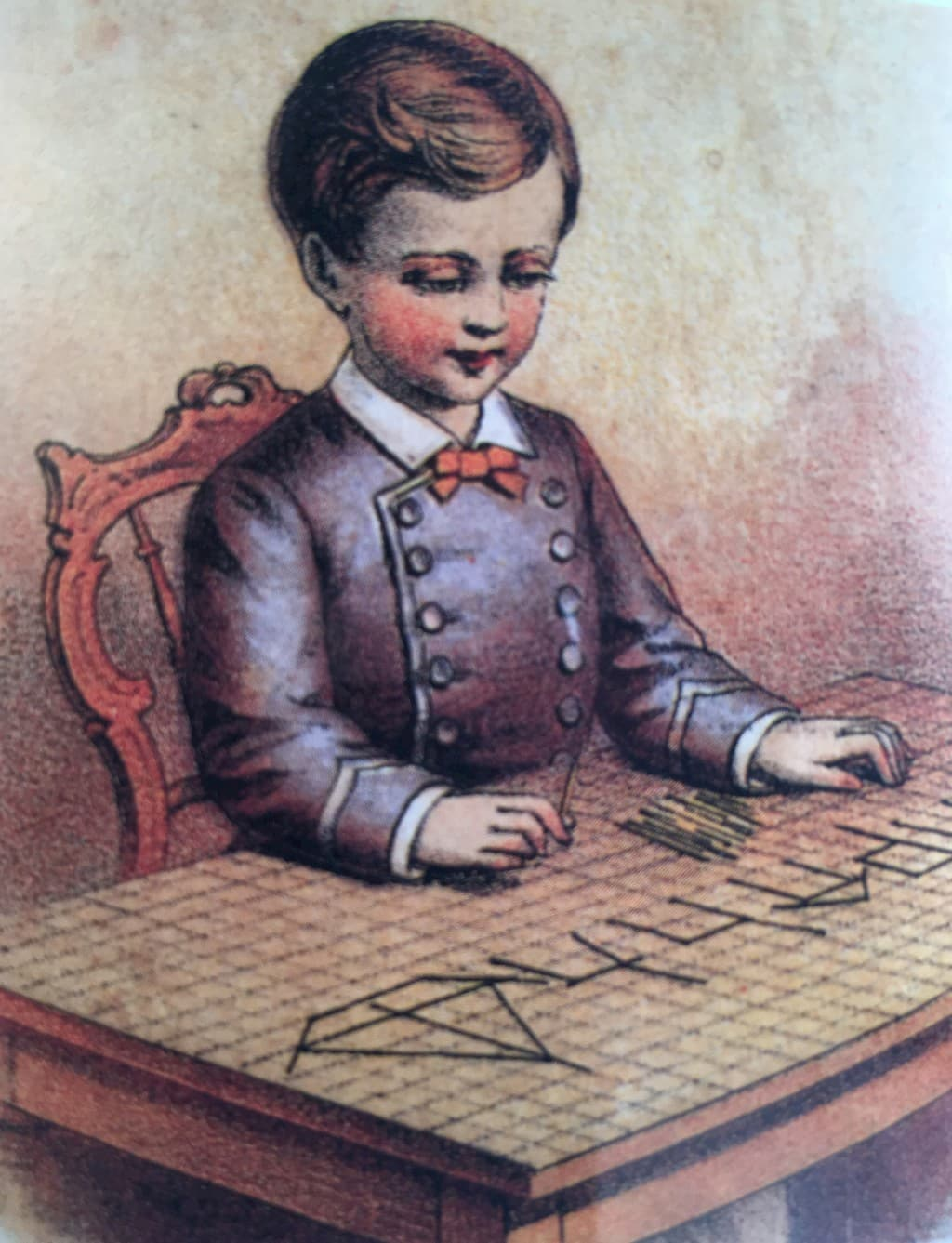 """Chromolithograph from """"Froebel's Kindergarten Occupations for the Family,"""" a kindergarten teaching set for home use. E. Steiger & Company, New York, 1877"""