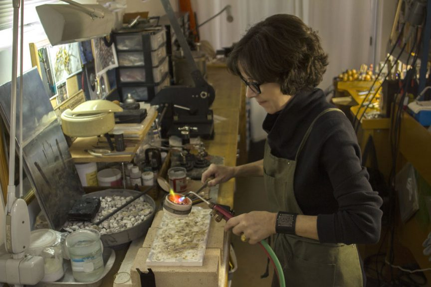 Kate Lindsay at her jewelers bench