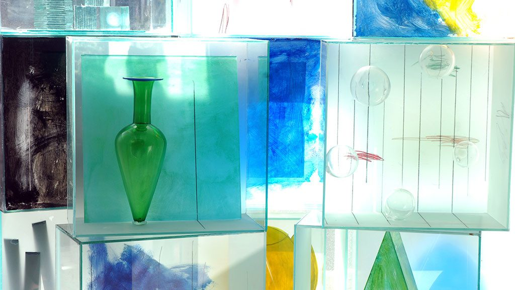 13 glass boxes, detail