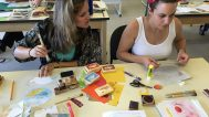 Shannon and Christine working on their Book of Fun and Games. A book with four moveable mechanisms and a pop up