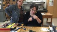 Janna and Mary Ellen working on the pendant