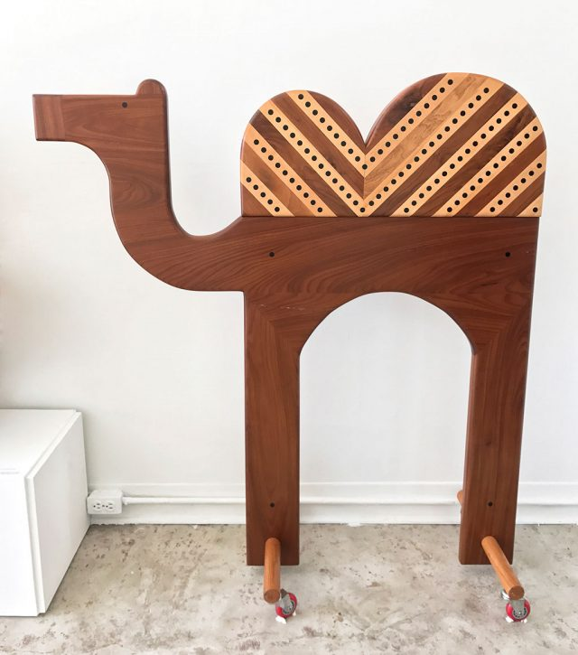Made to Play, Pamela Weir-Quiton, Camel, 1969, Aphromosia, Walnut and Maple with Ebony eyes and dots, Craft in America