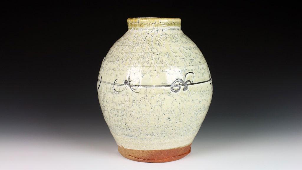 Matthew Krousey, Barbed Wire Vase. Salt fired stoneware, slips, stains, glaze