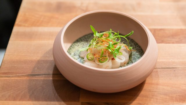 Consume: Handcrafting L.A. Restaurant Design, Nightshade Bay Scallops dish. Ceramics by Hannah Choi, Craft in America