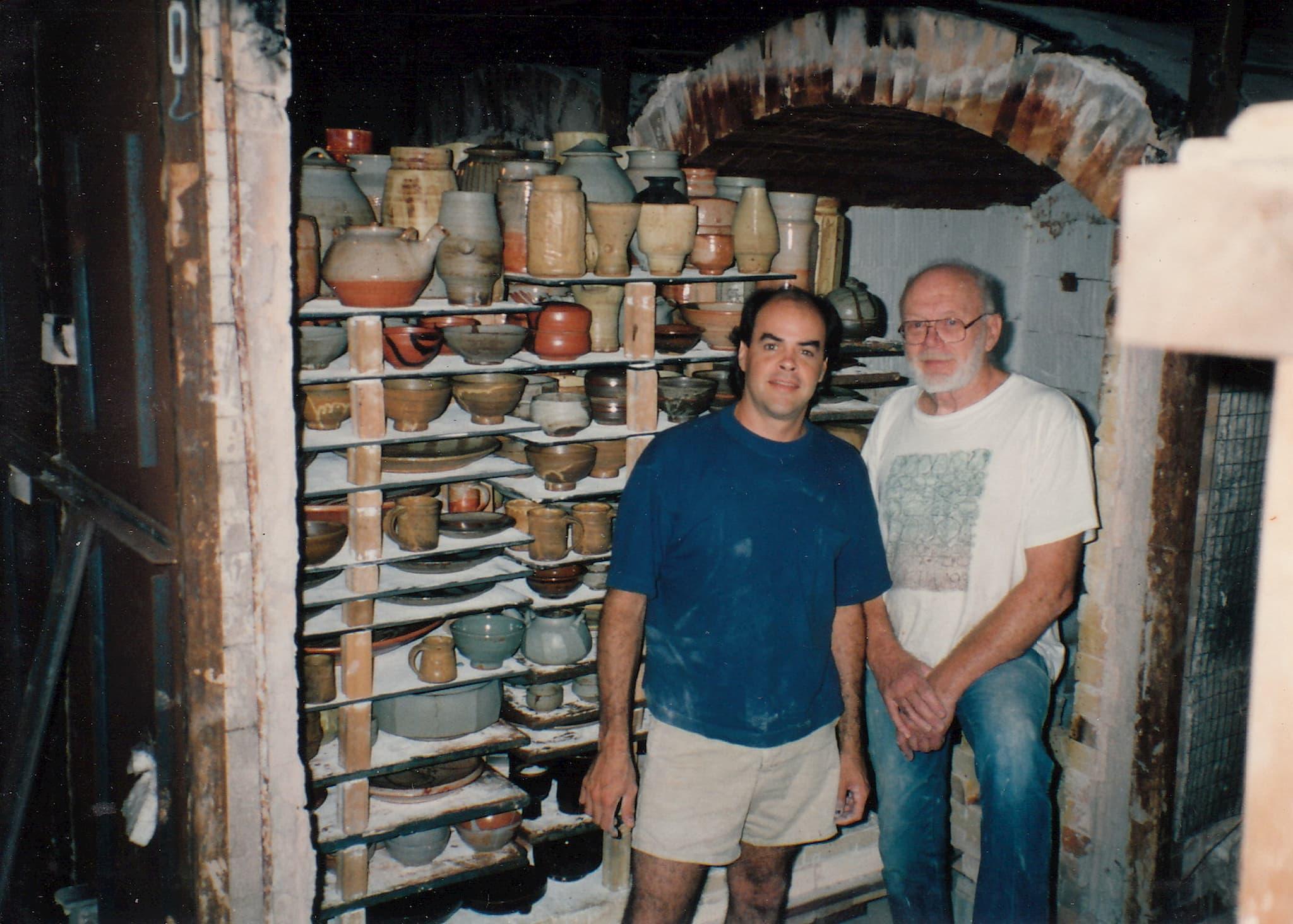 Guillermo Cuellar & Warren MacKenzie post-firing in Stillwater, MN. Courtesy of Guillermo Cuellar