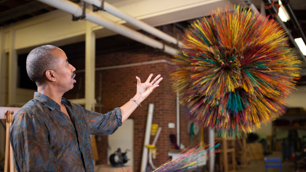 Stephen Burks with the Broom Thing at Berea College. Courtesy of Berea College. Craft in America Democracy