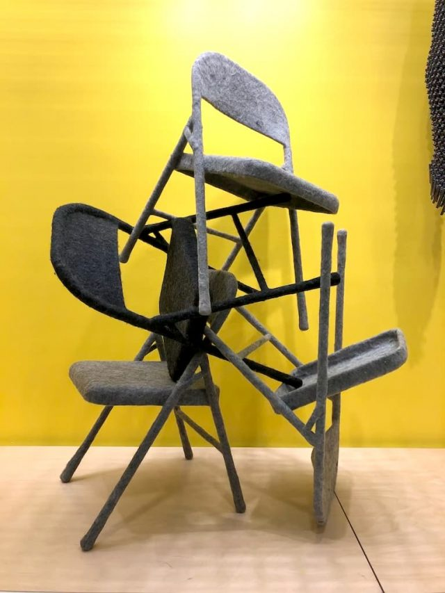 Tanya Aguiñiga, Hand-felted Folding Chairs (4 gray), Metal folding chair, wool, Collection of the artist