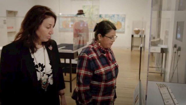 Co-curator Teri Greeves and artist Carla Hemlock at the Renwick Gallery, Smithsonian American Art Museum. Craft in America DEMOCRACY